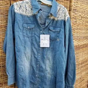 NWT Wrangler denim and lace top L